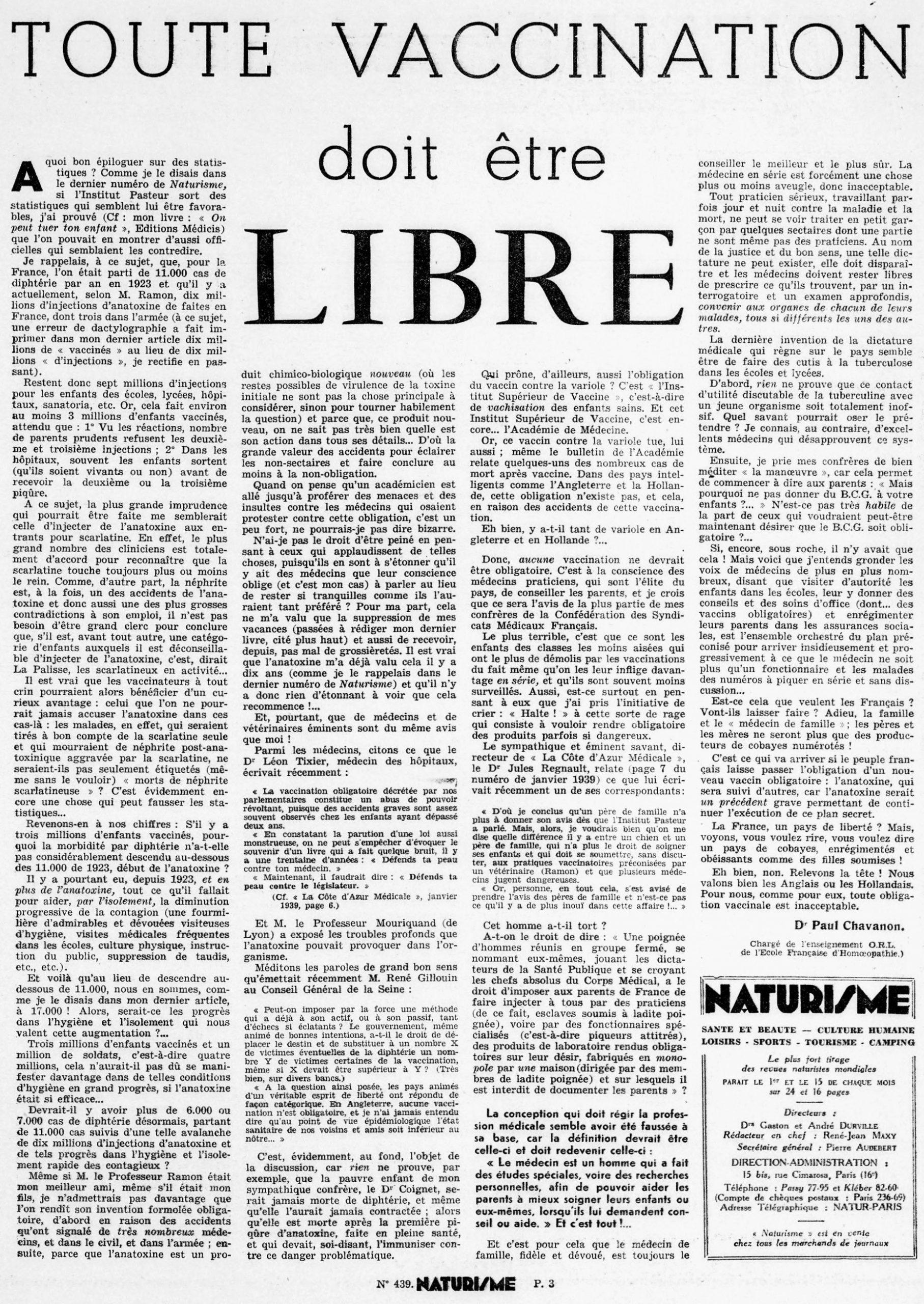 Naturisme vaccination obligatoire 1939